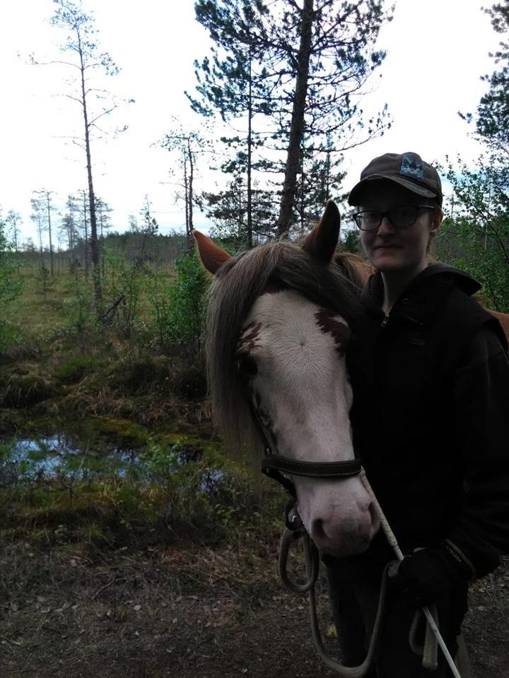 Budkavleritten 2020 - Beatrice Nilsson på promenad med Tinkerhästen Nolbackens Amber